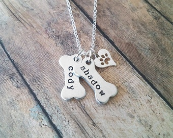 Dog Necklace Personalized // Dog Paw Necklace // Dog Jewelry // Paw Print // Pet Memorial // Dog Bone Charm Necklace // Hand Stamped Jewelry