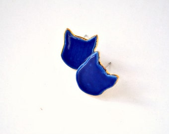 Meow - ceramic cat stud earrings - cobalt blue porcelain earrings - Jasmin Blanc jewelry