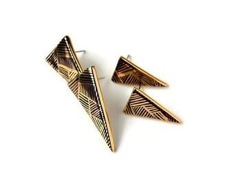 Black geometry - triangle stud post earrings - porcelain and gold jewelry - geometric porcelain earrings