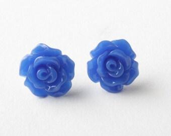Royal Blue rose stud Earrings, Flower Stud Earrings, blue rose earrings, Royal blue flower studs, cabochon earrings,