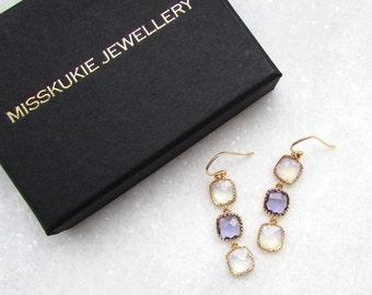 Gold Drop Earrings - Purple Dangle Earrings, Amethyst Earrings, Delicate Earrings, UK Jewellery, Unique Jewellery, Gifts for her
