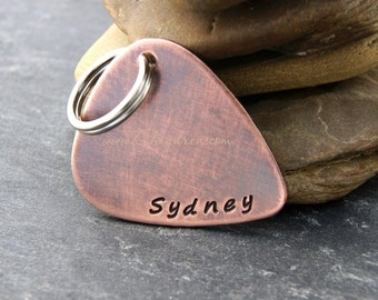 GUITAR PICK PERSONALIZED Keychain, Gift for Boyfriend, Birthday Gift for Son, Birthday Gift Daughter, Rustic Guitar Pick for Uncle or Dad