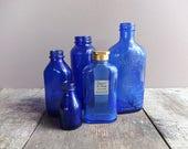 Vintage Cobalt Blue Bottle Collection - Set of 5