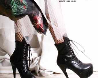 Color Custom Made Fetish Leather Laceup Spike Stiletto Calf Platform Boot 36-43