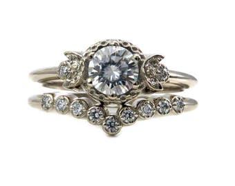 Stargazer Moon and Diamond Engagement Ring Set - Yellow, Rose or White Gold with Diamonds or Moissanite