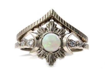 Opal Moon Fire Engagement Ring Set - Triple Moon Goddess Celestial Wedding Jewelry