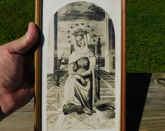 Vintage Virgin Mary Black and White Framed Print  ( in Cab)
