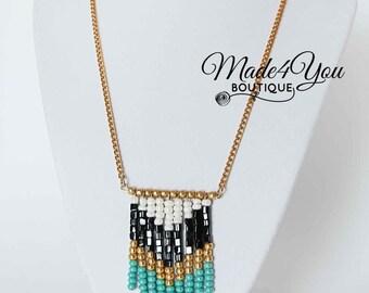Chevron Beaded Fringe Necklace - Turquoise Chevron Necklace