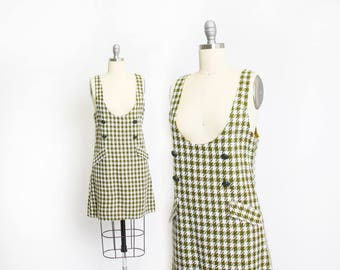 Vintage 1970s Jumper - Houndstooth Moss Green & Ivory Mod Mini Dress - Small