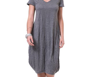 Gray cotton dress Oversized casual dress Loose fit knee length dress