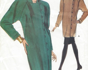 90s Womens Dress or Tunic with Hood & Skirt Raglan Sleeves Vogue Sewing Pattern 7909 Size 8 10 12 Bust 31 1/2 to 34 UnCut Vogue Patterns