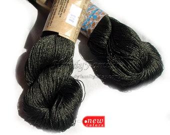 Viscose yarn Viscose Silk Yarn natural viscose yarn Glitter, Superfine / Lace weight bright crochet yarn Ajur color seaweed (808) Eq