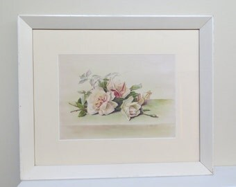 Vintage Floral Painting SIGNED / Rose Watercolor in cream wood frame / 25x21