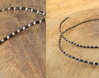 Vintage Sterling and Onyx Choker Necklace