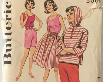 Butterick 9777, 1950's-1960's Beach Girl Hoodie, Blouse, Full Skirt, Skinny Pants, Jamaica Shorts