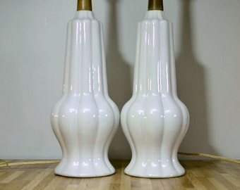 Midcentury Danish Modern Style Ceramic Pair of White Lamps with Wooden Neck
