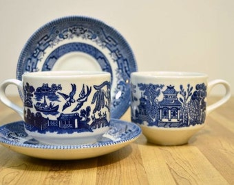 Vintage Blue Willow Churchill of England Coffee Cups and Saucers:  Set of Two