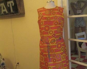 1960s Mod Psychedelic Dress Large / Orange Pink Yellow Circle Print Dress Size 12