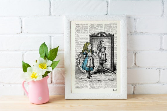 Summer Sale Alice in wonderland Alice and the mirrors- Alice in Wonderland Collage Print on Vintage Dictionary Book art ALW012