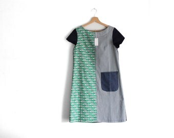 Woman's short sleeve carps summer dress, block printed, carps and stripes. Summer frock. Size S. Ready to ship.