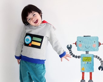 Robot hooded kids sweatshirt. Carnival costume idea. Sizes from 2 to 7 years. Immediate shipping.