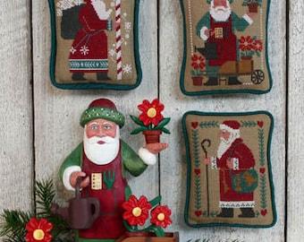 Schooler Santas Revisted Book No. 204 1987 1993 & 1996 : Prairie Schooler cross stitch Christmas Woodland Quilt Sunflower Santa Claus