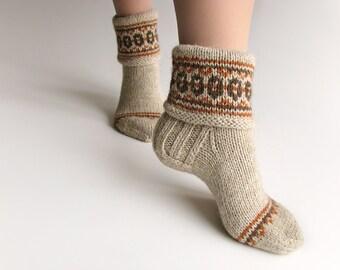 EU Size 37.5-39 - Fair Isle Hand Knitted Women's Woolen Socks - 100% Natural Wool