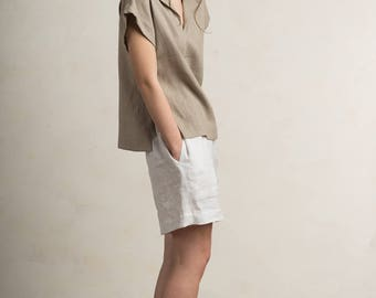 Linen blouse, Linen women's clothing, Short sleeve linen shirt, Linen womens tops, Flax grey linen clothes by LHI