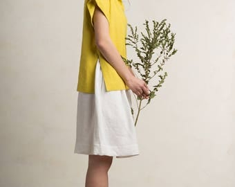 Linen blouse, Mustard blouse for woman, Natural linen womens clothing by LHI