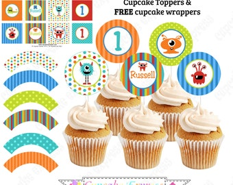 Monsters Cupcake Topper PRINTABLES cupcake toppers FREE Cupcake wrappers  DIY birthday party decorations Cupcake Express