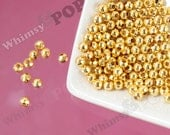 5mm - Gold Tone Round Spacer Beads,  Mini Spacer Beads, 5mm Spacer Beads, 2mm Hole, 50 - 250pcs (C1-27)