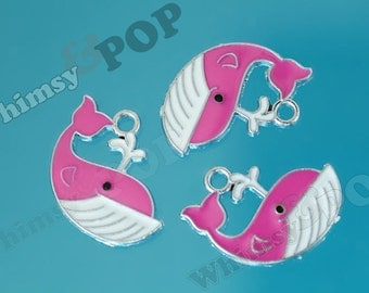 5 - Grade B Kawaii Pink Whale Charm Pendant, Whale Charm, Whale Pendant, 24mm x 23mm (R8-209)