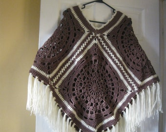 Brown Crochet Poncho with Fringes