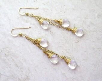 Clear Quartz Crystal Earrings, Gold Wire Wrapped, Long Chain Dangle, Elegant Christmas Gift Idea, Gemstone Jewelry, Handmade, Gemstones