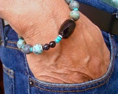 Men's Spiritual Healing, Protection, Love Bracelet with Semi Precious Matte Turquoise, Black Agate, Onyx, Hematites, Bohemian Man Bracelet