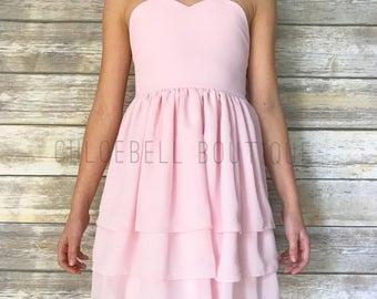 Blush Flower Girl Dress - blush chiffon dress - Pastel Toddler Flower Girl - light pink - Chiffon Flower Girl - Chiffon Dress - Modern