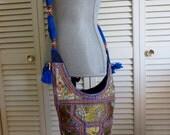 Banjara Bucket Bag Purse Handmade OOAK Boho Hippie Gypsy India Club Kid Grunge Cross Body Messenger Tote Bohemian Hipster Festival Blue Mod