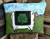Primitive Sheep Pillow | Folk Art Sheep Pillow | Sheep Decor | Hand painted Sheep Pillow | St. Patrick decor | Irish shamrock Greenery
