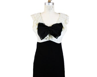 1960s Black and White Party Dress