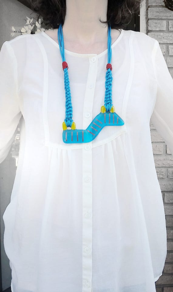 Turquoise Glass and Macrame Necklace
