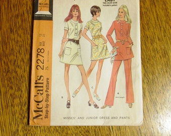"1970 MOD Mini Dress / Go-Go Tunic & High Waisted Pants - Size 13 (Bust 35"") - UNCUT Vintage Sewing Pattern McCalls 2278"