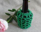 Decorative Covered Crochet Vase , Recycled Vintage Liquer Bottle Vase