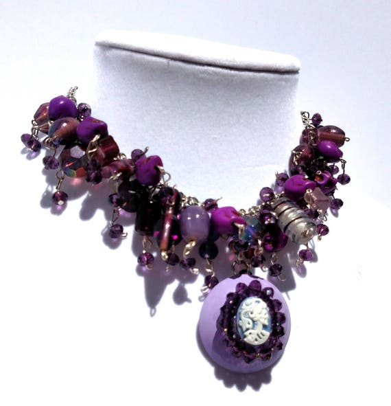 Purple Cameo Necklace