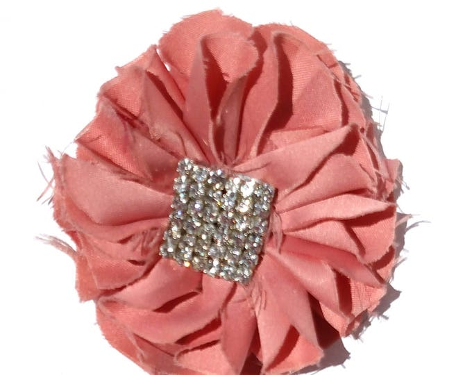 Recycled Vintage Fabric Flower Clip - Pink with Rhinestones