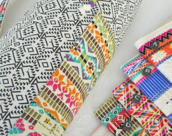 Yoga mat bag - Mexican textiles -  choose your EMBROIDERED MEX FABRIC for pocket & carry strap at sidebar.