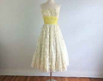 Vintage 1950s Harry Keiser shelfbust strapless party dress- 50s yellow and white prom - wedding- cocktail dress - small