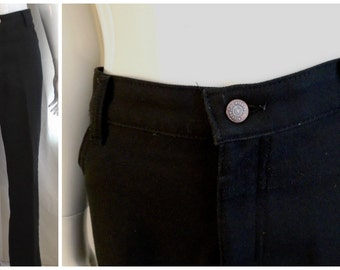 Vintage Pants 1970's Men's Pants Black Lees Polyester Pants Styled Like Jeans  40 x 33