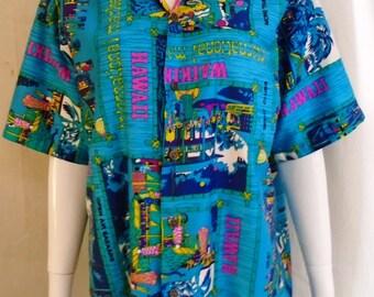 Vintage 1960s Hawaiian Shirt Novelty Print Cotton Girls Palm Trees Aloha Shirt Island Casuals