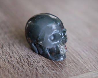 African Bloodstone Heliotrope Carved Stone Crystal Skull