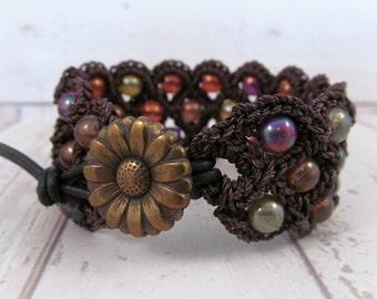 Hippie Cuff Bracelet, Boho Crochet Jewelry, Dark rustic, multi color